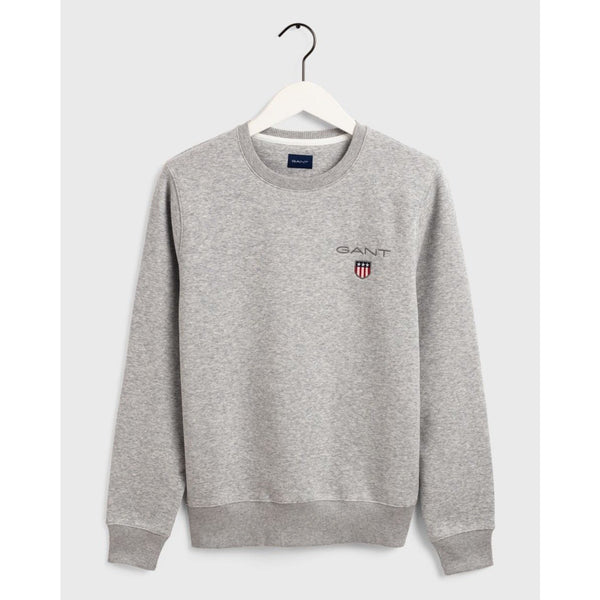 Gant - Tröja - Medium Shield C-Neck Sweat (94 Light Grey Melange) - Thernlunds