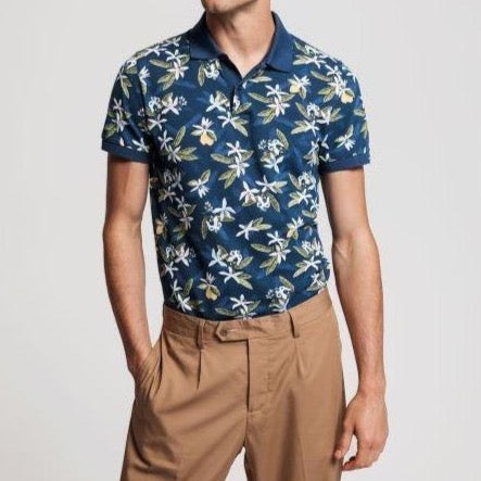 Gant - Pikétröja - Lemon Flower Print SS Pique (461 Insignia Blue) - Thernlunds