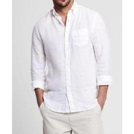 Gant - Skjorta - The Linen Shirt Reg Bd (110 White) - Thernlunds