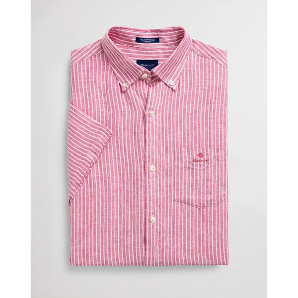 Gant - Skjorta - The Linen Strupe Reg SS Bd (665 Rapture Rose) - Thernlunds