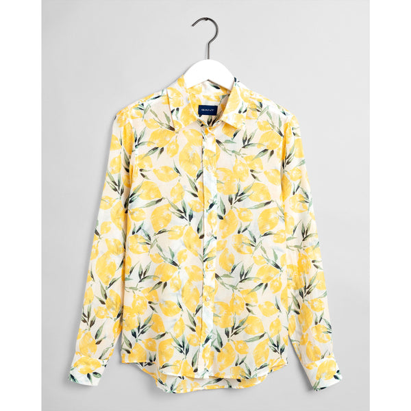 Gant - Skjorta - D2. Lemon Cotton Silk Shirt (706 Mimosa Yellow) - Thernlunds