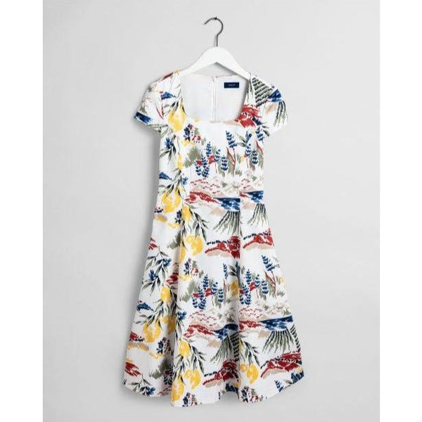 Gant - Klänning - D2. Riviera View Print Dress (113 Eggshell) - Thernlunds