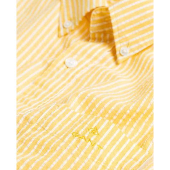 Gant - Skjorta - Tp Seersucker Stripe Reg Bd (706 Mimosa Yellow) - Thernlunds