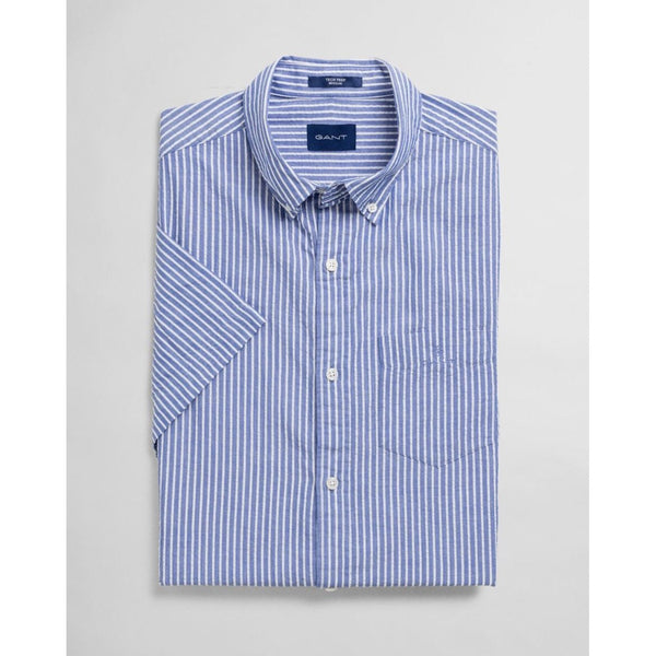 Gant - Skjorta - Tp Seersucker Stripe Reg Bd SS (436 College Blue) - Thernlunds