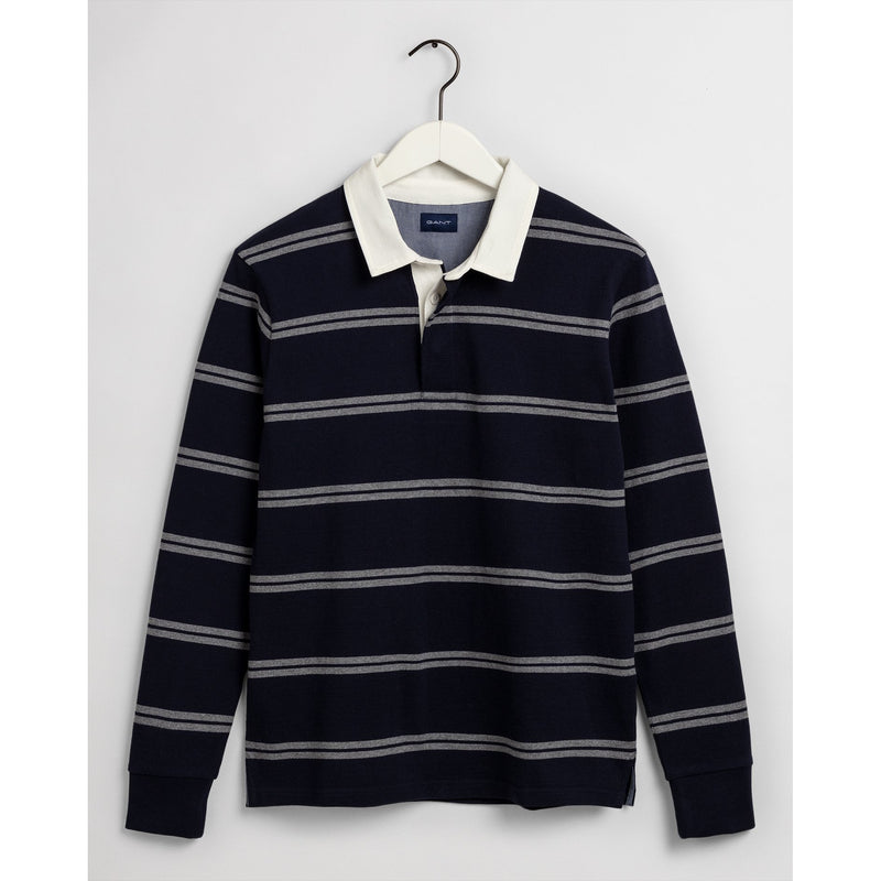 Gant - Tröja - Double Stripe Heavy Rugger (409 Classic Blue) - Thernlunds