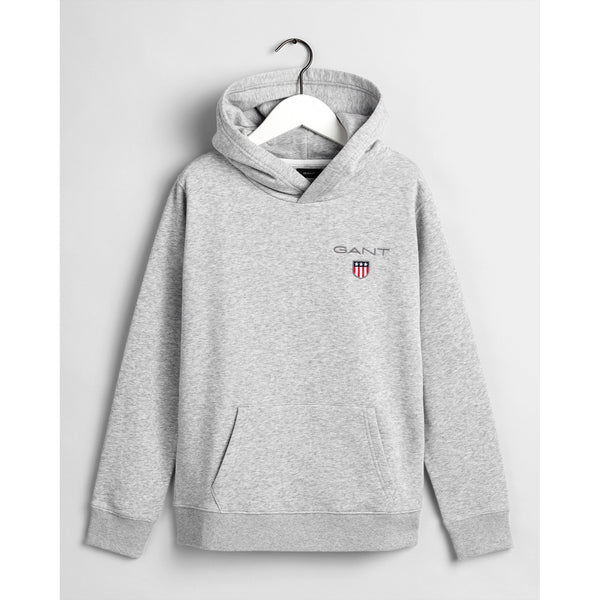 Gant - Tröja - 906790 D1. Medium Shield Sweat Hoodie (94 Light Grey Melange) - Thernlunds