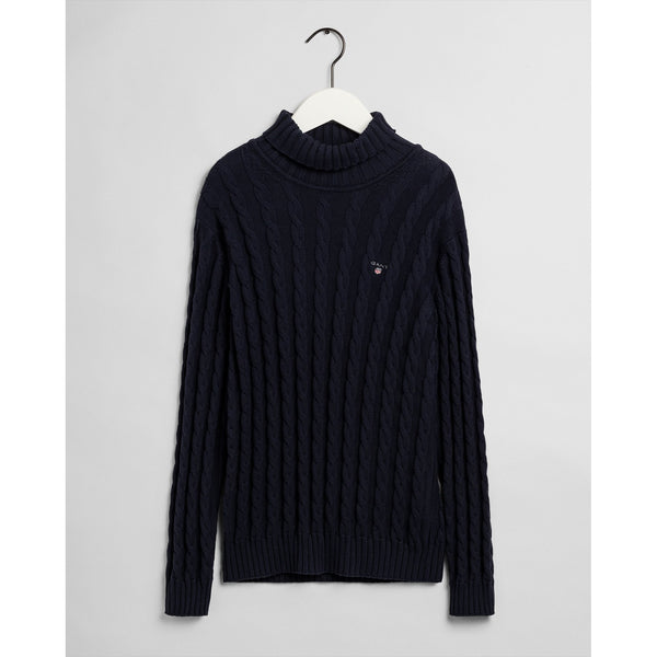 Gant - Tröja - 984024 D1. Cotton Cable Turtle Neck (433 Evening Blue) - Thernlunds