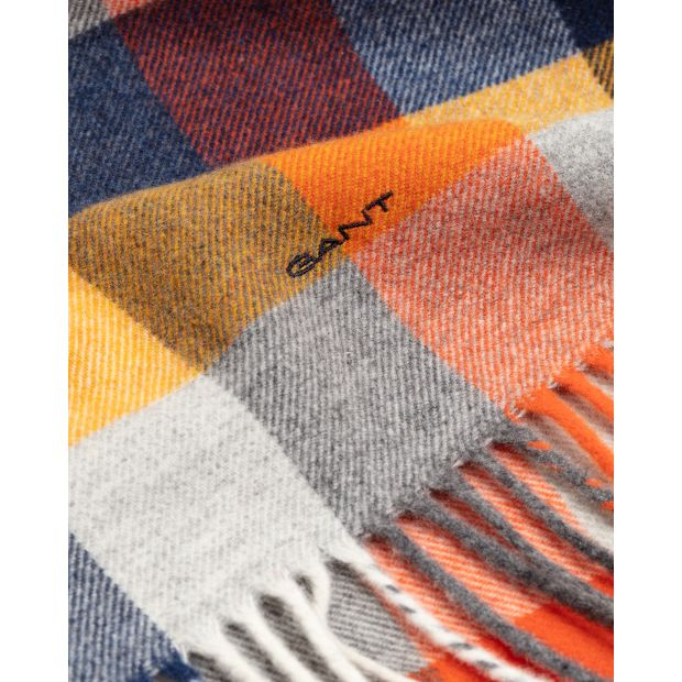 Gant - Handskar - Multi Check Wool Scarf (801 Dark Orange) - Thernlunds