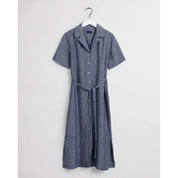 Gant - Klänning - Linen Chambray Ss Shirt Dress - Thernlunds