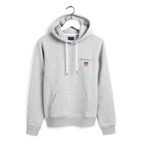 Gant - Tröja - Medium Shield Hoodie (94 Light Grey Melange) - Thernlunds