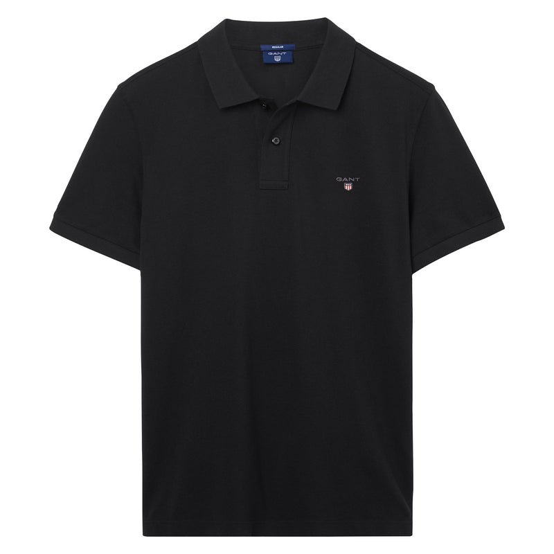 Gant - Pikétröja - The Original Pique SS Rugger (5 Black) - Thernlunds