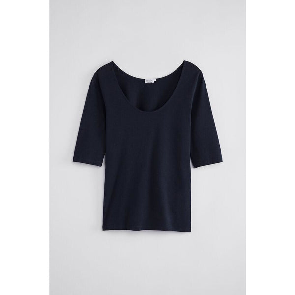 Filippa K - T-shirt - Cotton Stretch Scoop Neck Top (2830 Navy) - Thernlunds
