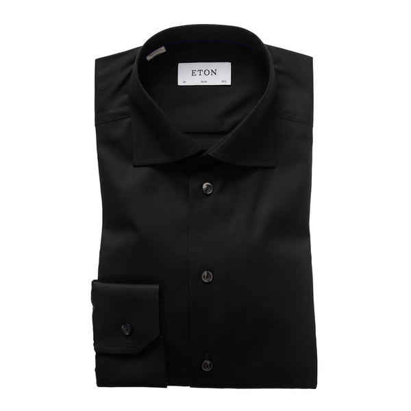 Eton - Skjorta - Signature Slim Shirt (18 Black) - Thernlunds