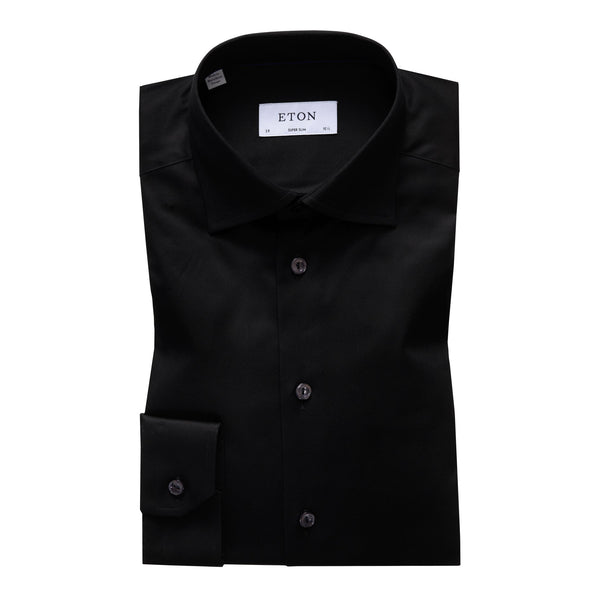 Signature Twill Super Slim Shirt (18 Black)