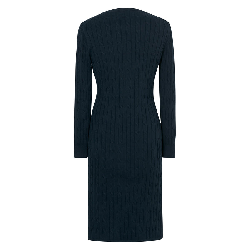 Gant - Klänning - Stretch Cotton Cable Dress (433 Evening Blue) - Thernlunds
