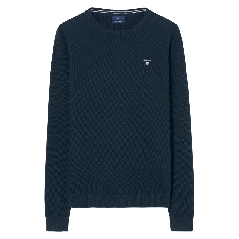 Gant - Tröja - Cotton Pique Crew (433 Evening Blue) - Thernlunds