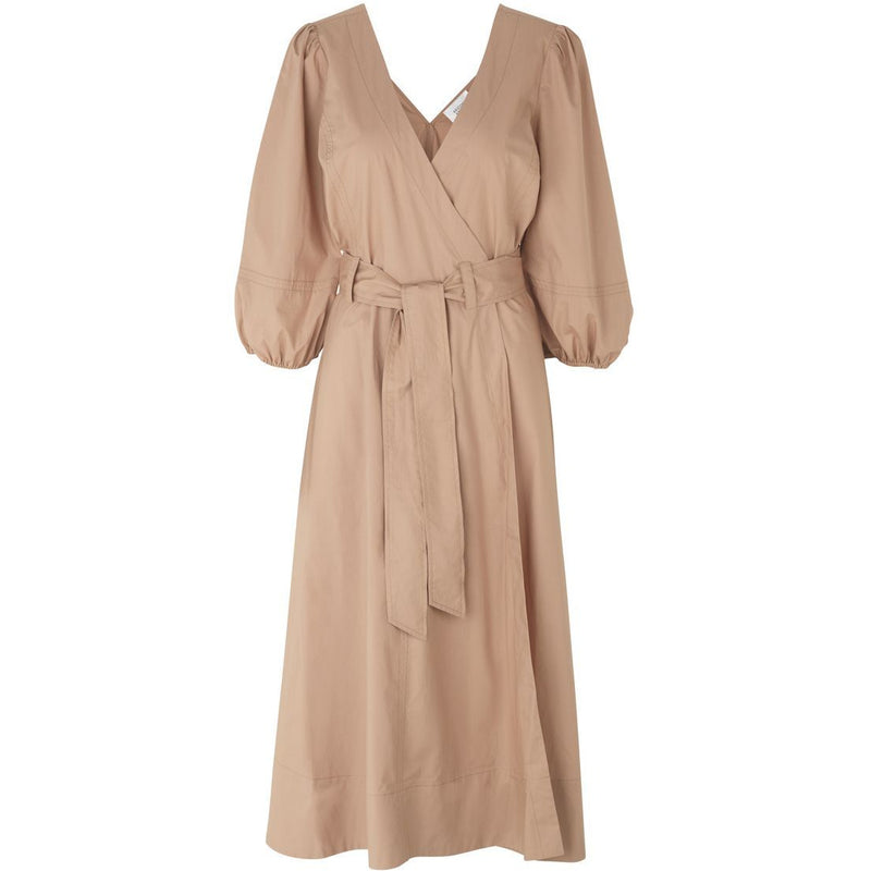 Second Female - Klänning - Phoebe Wrap Midi Dress (6042 Praline) - Thernlunds