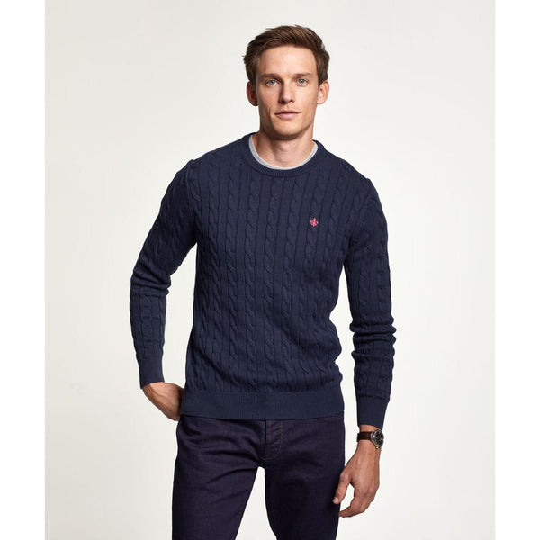 Morris - Tröja - Merino Cable Oneck (60 Navy) - Thernlunds