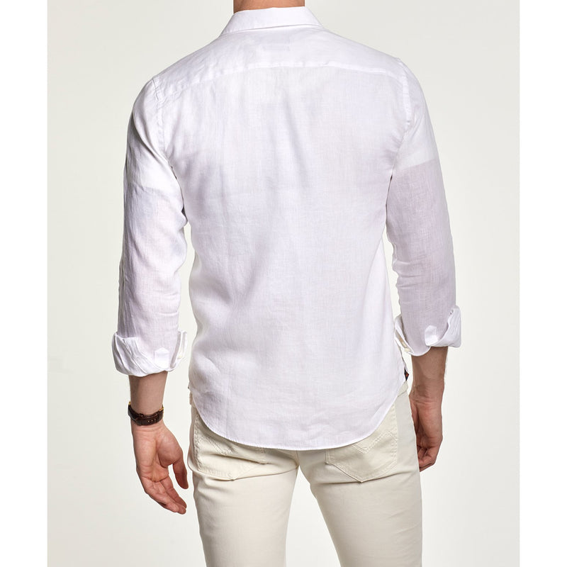 Morris - Skjorta - Douglas Linen Shirt (01 White) - Thernlunds