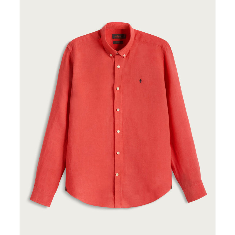Morris - Skjorta - Douglas Linen Shirt (41 Red) - Thernlunds