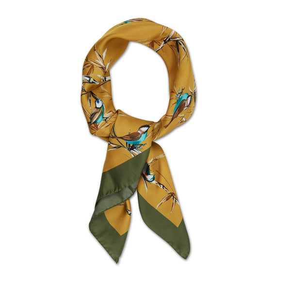 Stenströms - Huvudbonad - Colourful Birds Scarf (741 Dark Yellow Pattern) - Thernlunds