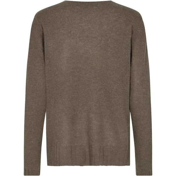 Mos Mosh - Tröja - Sophia V-neck Cashmere (662 Chocolate Chip) - Thernlunds