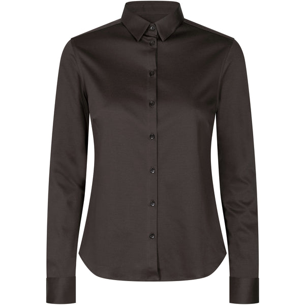 Mos Mosh - Skjorta - Tina Jersey Shirt (664 Molé Brown) - Thernlunds