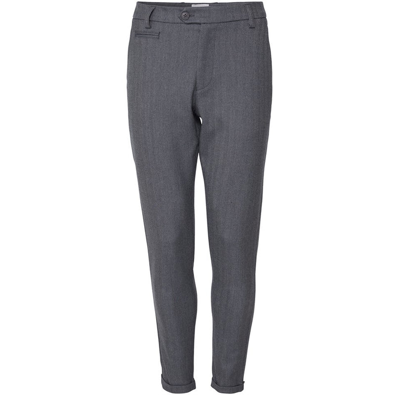 Les Deux - Byxa - Como Herringbone Suit Pants (Light Grey Melange/Charcoal) - Thernlunds