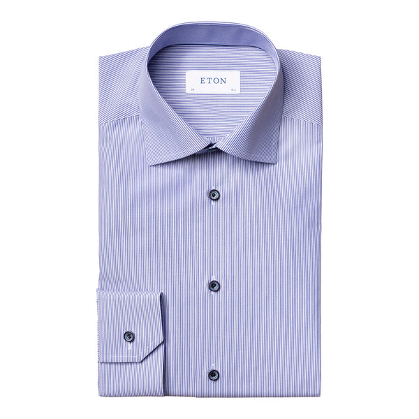 Eton - Skjorta - Striped Poplin Slim Shirt - Thernlunds