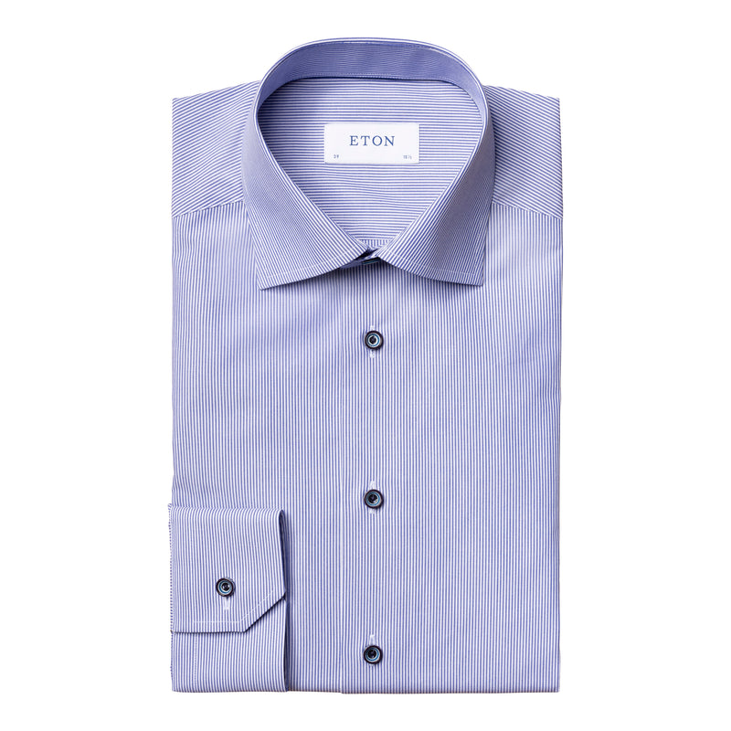 Eton - Skjorta - Striped Poplin Contemporary Shirt - Thernlunds