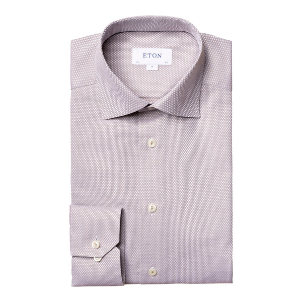Eton - Skjorta - Diamond Dobby Slim Shirt (35 Brown) - Thernlunds