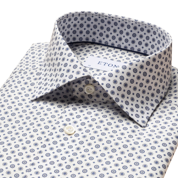 Eton - Skjorta - Medallion Print Signature Twill Contemporary Shirt (25 Blue) - Thernlunds