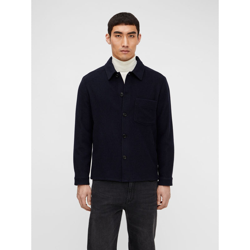 J.Lindeberg - Skjorta - Flat Wool Overshirt (6855 Navy) - Thernlunds
