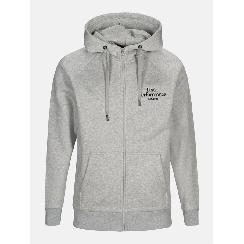 Peak Performance - Tröja - M Original Zip Hood (M03 Med Grey Melange) - Thernlunds