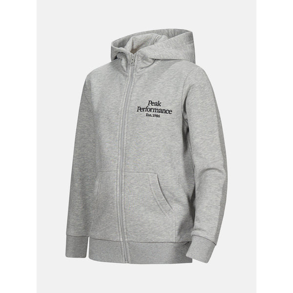 Peak Performance - Tröja - JR Original Zip Hood (M03 Med Grey Mel) - Thernlunds