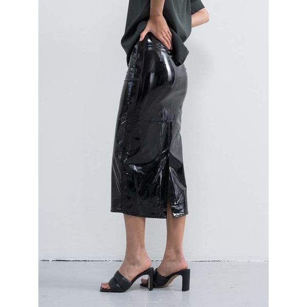 Hana Latex Pencil Skirt (Black)