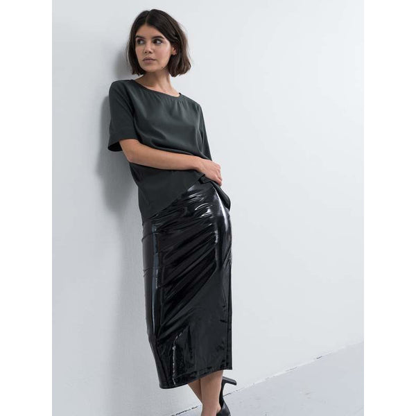 Ahlvar - Kjol - Hana Latex Pencil Skirt (Black) - Thernlunds