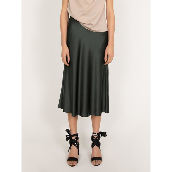 Ahlvar - Kjol - Hana Satin Skirt (Dark Military) - Thernlunds