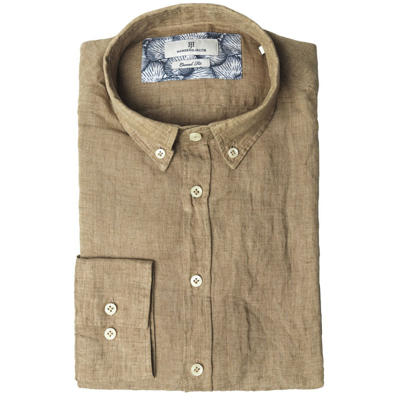 Hansen & Jacob - Skjorta - Linen Melange Delavé Shirt (65 Brown) - Thernlunds