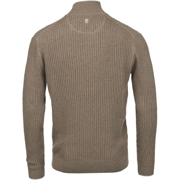 Hansen & Jacob - Tröja - Half Zip Mini Cable Knit (65 Brown) - Thernlunds