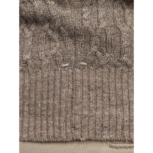 CREW NECK LINEN NEW CABLE KNIT - Thernlunds