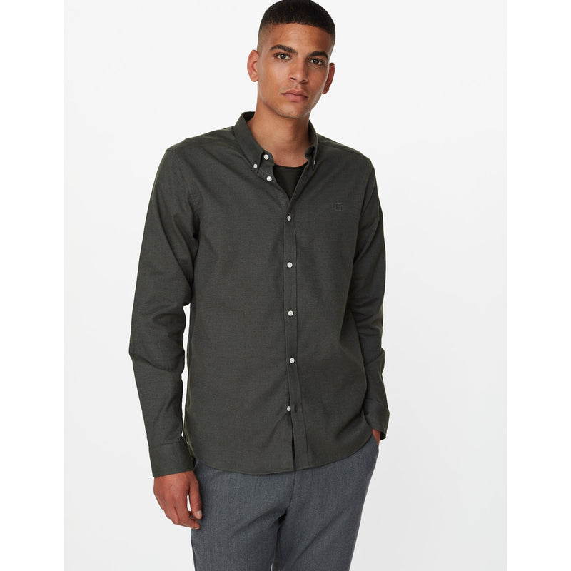 Les Deux - Skjorta - Harrison B.D. Brushed Shirt (Deep Forrest) - Thernlunds