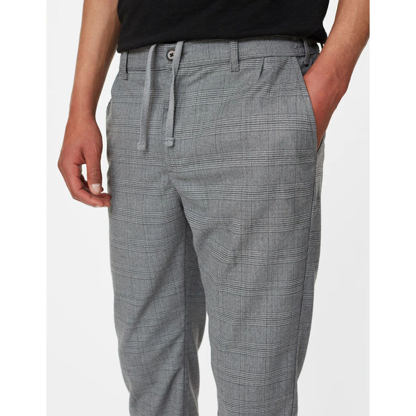 Les Deux - Byxa - Pino Check Elastic Waist Pants (Light Grey Melange) - Thernlunds