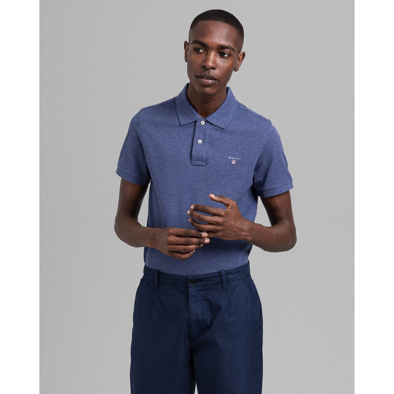 Gant - Pikétröja - The Original Pique SS Rugger (902 Dark Jeansblue Melange) - Thernlunds