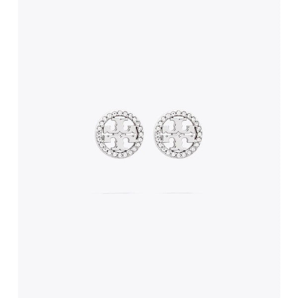 Tory Burch - Smycken - 54322 Crystal logo stud earrings (Silver) - Thernlunds