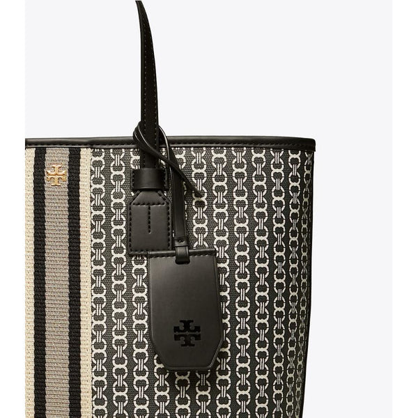Tory Burch - Väska - Gemini Link Canvas Top-Zip Tote (892 Black Gemini) - Thernlunds