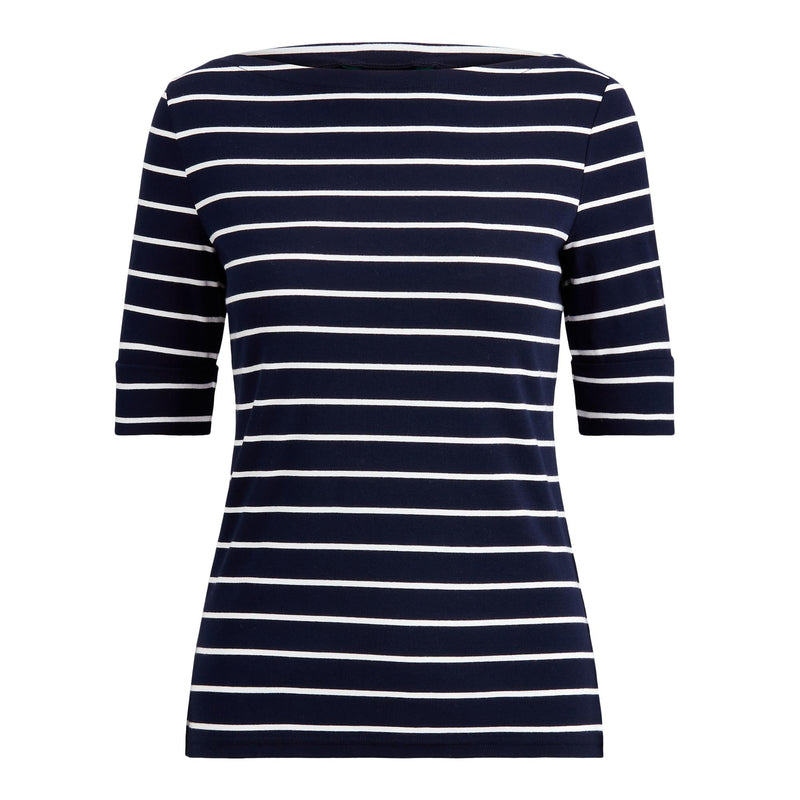 Lauren - T-shirt - 200701085 Judy Elbow Sleeve Knit (002 Lauren Navy/White) - Thernlunds