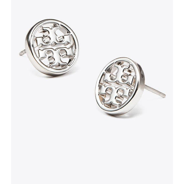 Tory Burch - Smycken - Logo Circle Stud Earrings (Silver) - Thernlunds