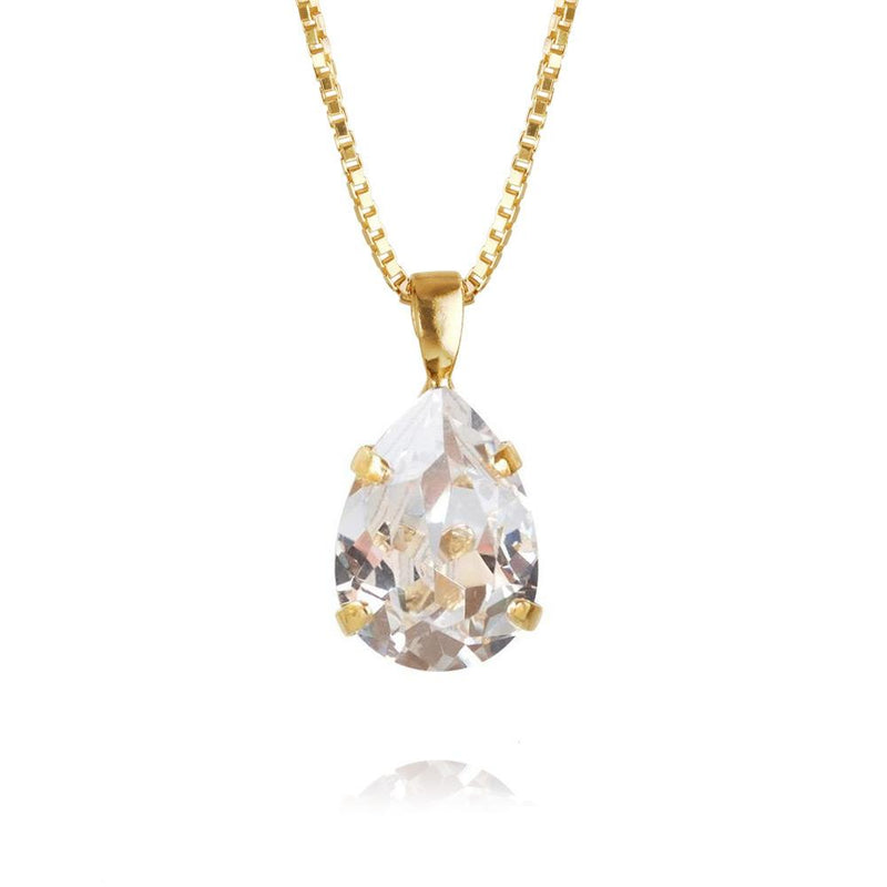 Caroline Svedbom - Smycken - Mini Drop Necklace Gold (001 Crystal) - Thernlunds