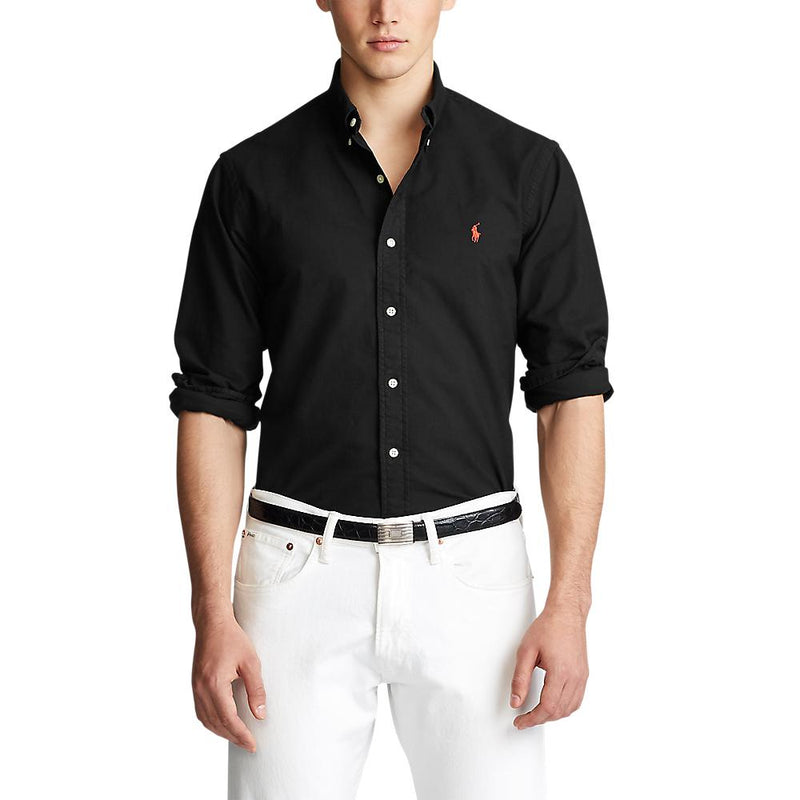 Polo Ralph Lauren - Tröja - Custom Fit Garment Dyed Oxford Shirt (001 Black) - Thernlunds